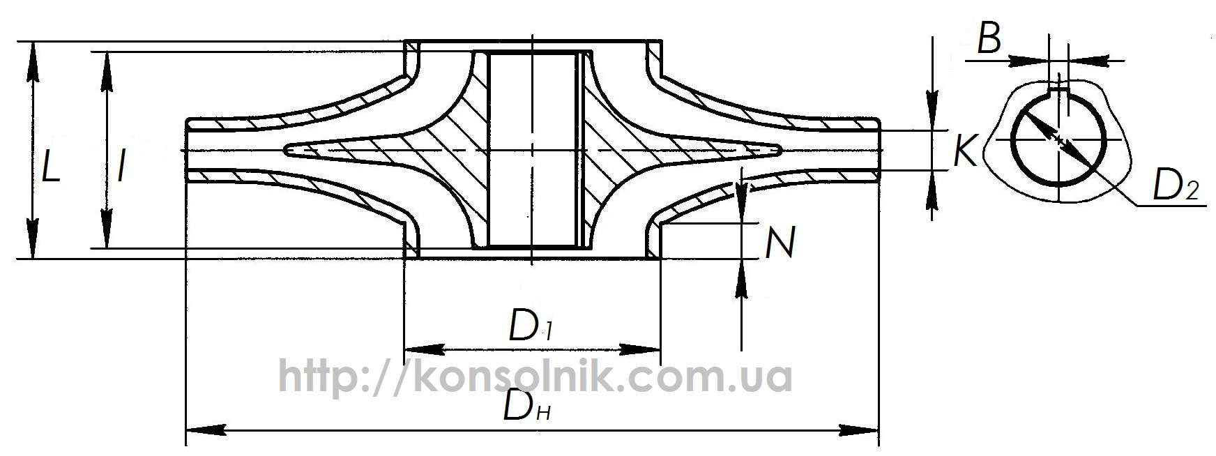 Чертеж рабочего колеса для насосов Д и 1Д