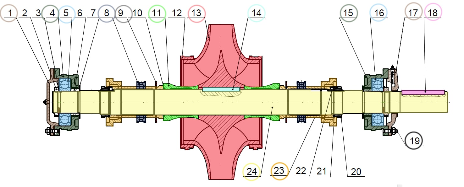 Ротор двустороннего насоса Д