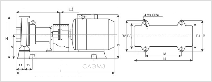Габаритно-присоединительные размеры насоса К90/55