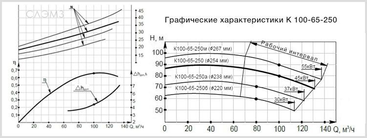 Графические характеристики К100-65-250 из паспорта