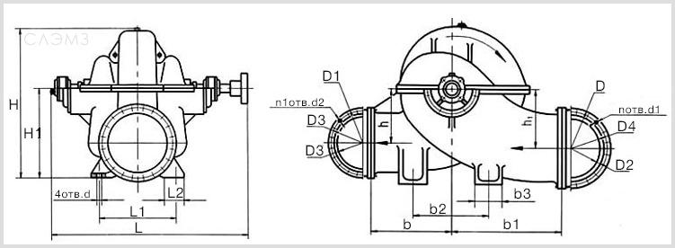 Чертеж и габаритные размеры центробежных насосов Д2500-62-2