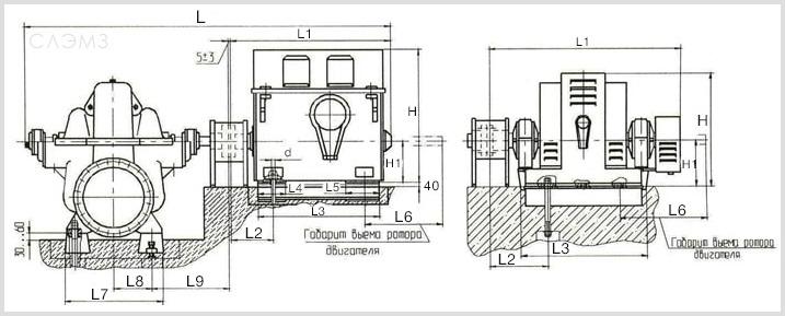 Габаритно-присоединительные размеры агрегатов Д2500-62