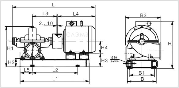Габаритно-присоединительные размеры насоса Д 1250/65, Д1250-65а и Д1250-65б с двигателем