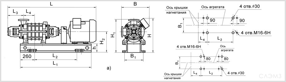 Габаритно-присоединительные размеры агрегата ЦНС 180-297 и ЦНСг 180-297