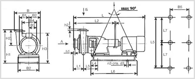 Габаритные и присоединительные размеры насоса СД 50/56