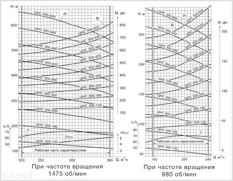 Графические характеристики ЦНС 300 из паспорта