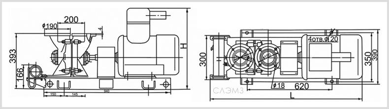 Габаритно-присоединительные размеры агрегатов АСВН-80