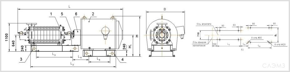 Габаритно-присоединительные размеры агрегата ЦНС 300-600
