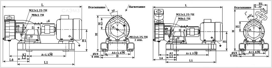 Габаритно-присоединительные размеры агрегатов ВК