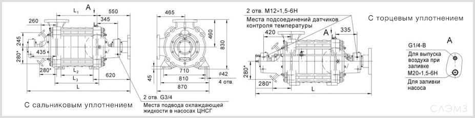Габаритные размеры центробежных насоса ЦНС 300-600 из паспорта