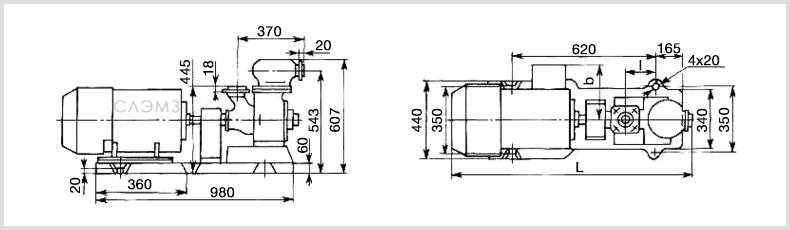 Чертеж и размеры насоса СЦЛ 20/24 с двигателем