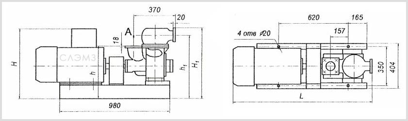 Габаритно-присоединительные размеры агрегатов АСЦН 75-70