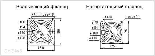 Чертеж фланцев насоса СЦЛ20/24