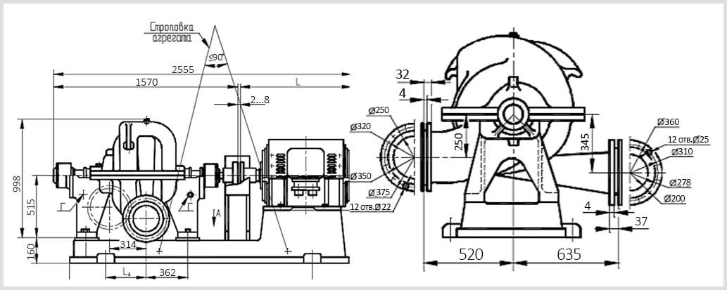 Чертеж насосного аргегата ЦН 400-105 сэлектродвигателем на раме из паспорта