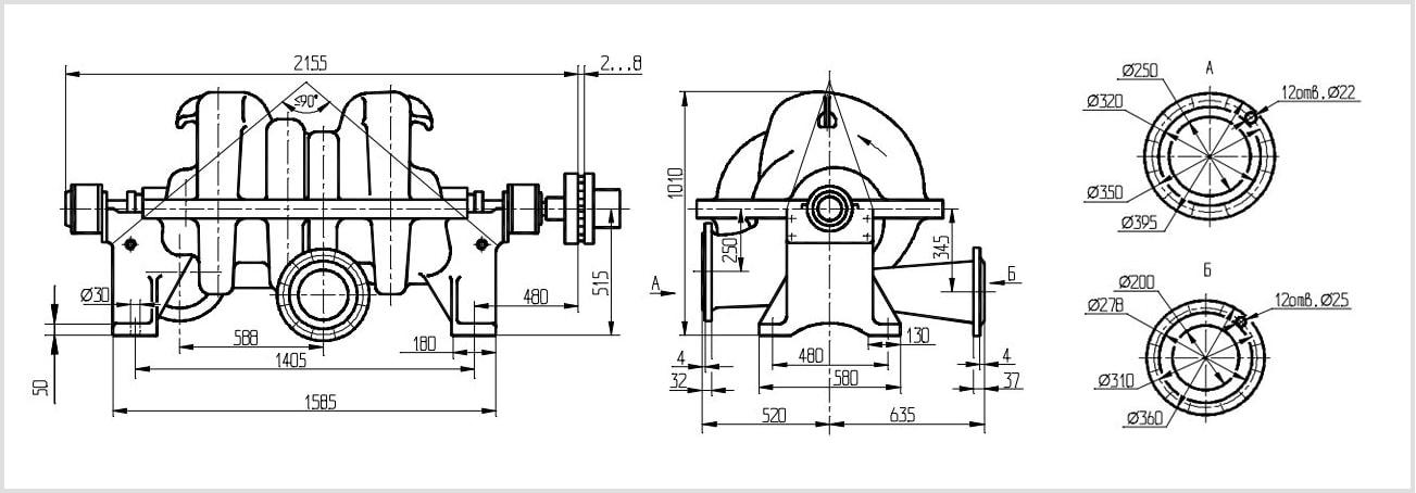 Габаритные размеры и чертеж насоса ЦН 400-210. Размеры патрубков