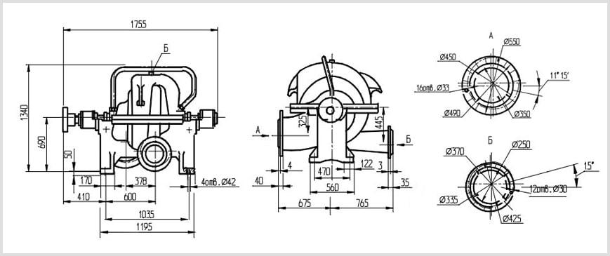 Габаритные размеры и чертеж насоса ЦН 1000-180-3 (10 НМК-2). Размеры патрубков